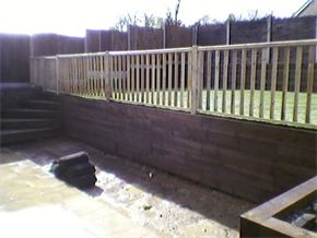 Wooden sleeper retaining walls and raised beds Flitwick, Beds.